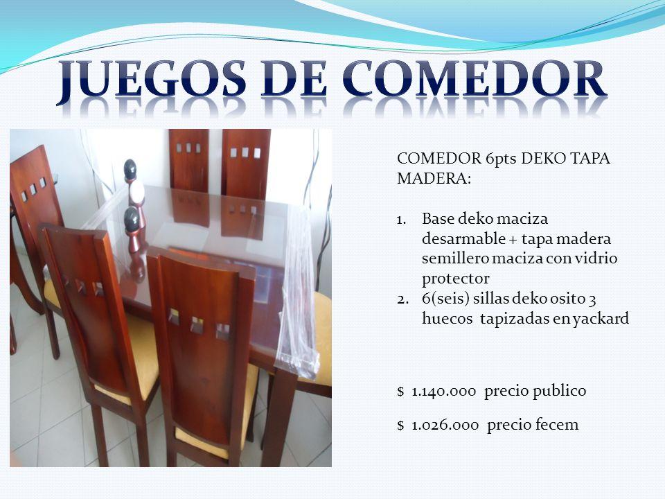 COMEDOR 6pts DEKO TAPA MADERA: 1.Base deko maciza desarmable + tapa madera semillero maciza con vidrio protector 2.6(seis) sillas deko osito 3 huecos