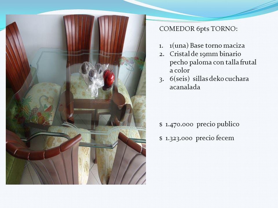 COMEDOR 6pts TORNO: 1.1(una) Base torno maciza 2.Cristal de 19mm binario pecho paloma con talla frutal a color 3.6(seis) sillas deko cuchara acanalada