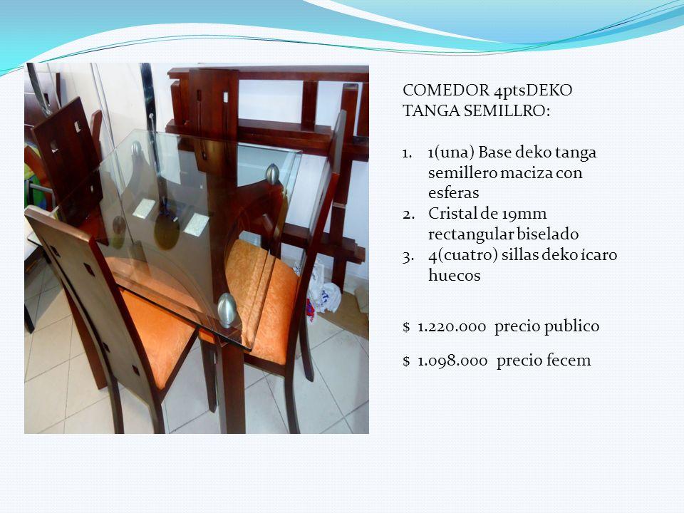 COMEDOR 4ptsDEKO TANGA SEMILLRO: 1.1(una) Base deko tanga semillero maciza con esferas 2.Cristal de 19mm rectangular biselado 3.4(cuatro) sillas deko