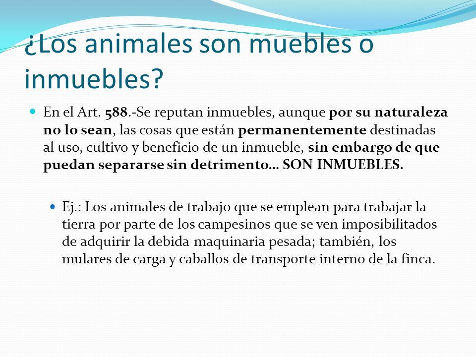 ¿Los animales son muebles o inmuebles? En el Art. 588.-Se reputan inmuebles, aunque por su naturaleza no lo sean, las cosas que están permanentemente