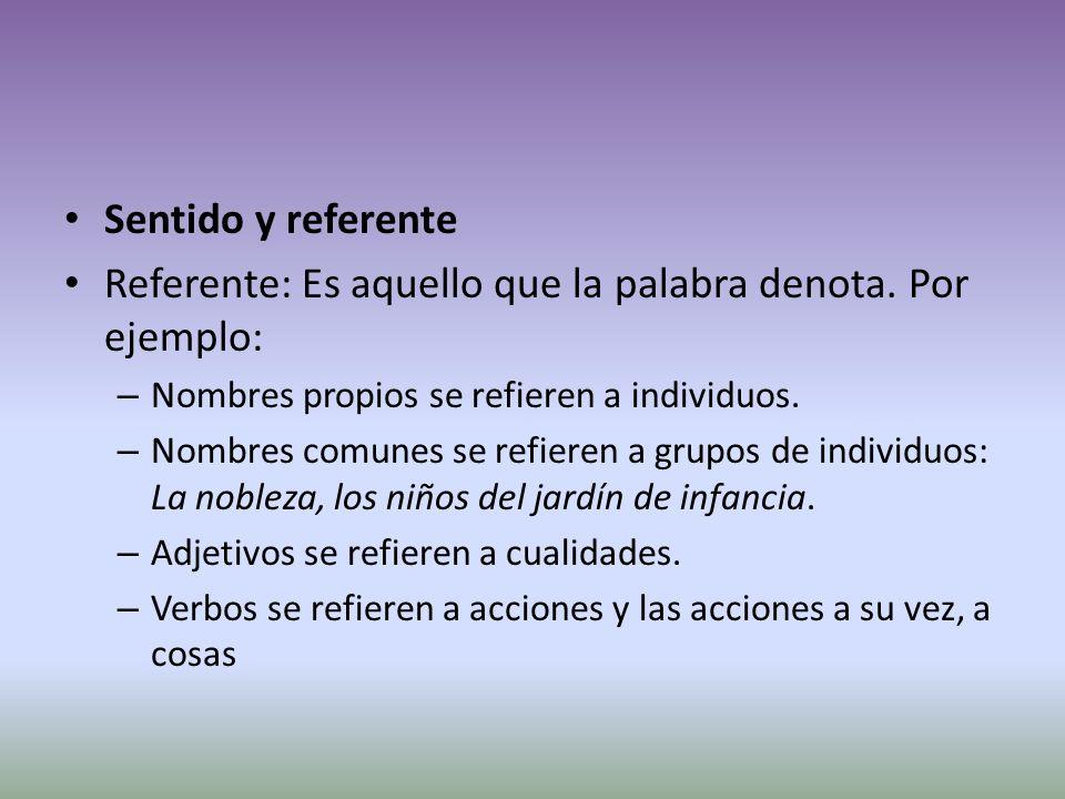 Sentido y referente Referente: Es aquello que la palabra denota.