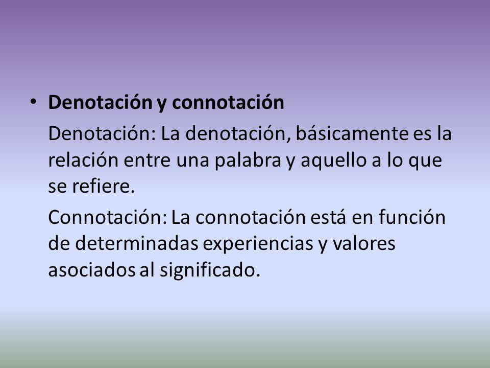 Denotación y connotación Denotación: La denotación, básicamente es la relación entre una palabra y aquello a lo que se refiere.