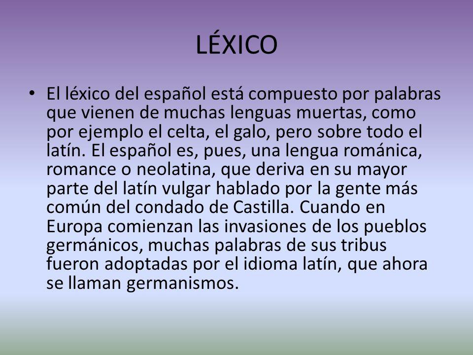 LÉXICO El léxico del español está compuesto por palabras que vienen de muchas lenguas muertas, como por ejemplo el celta, el galo, pero sobre todo el latín.