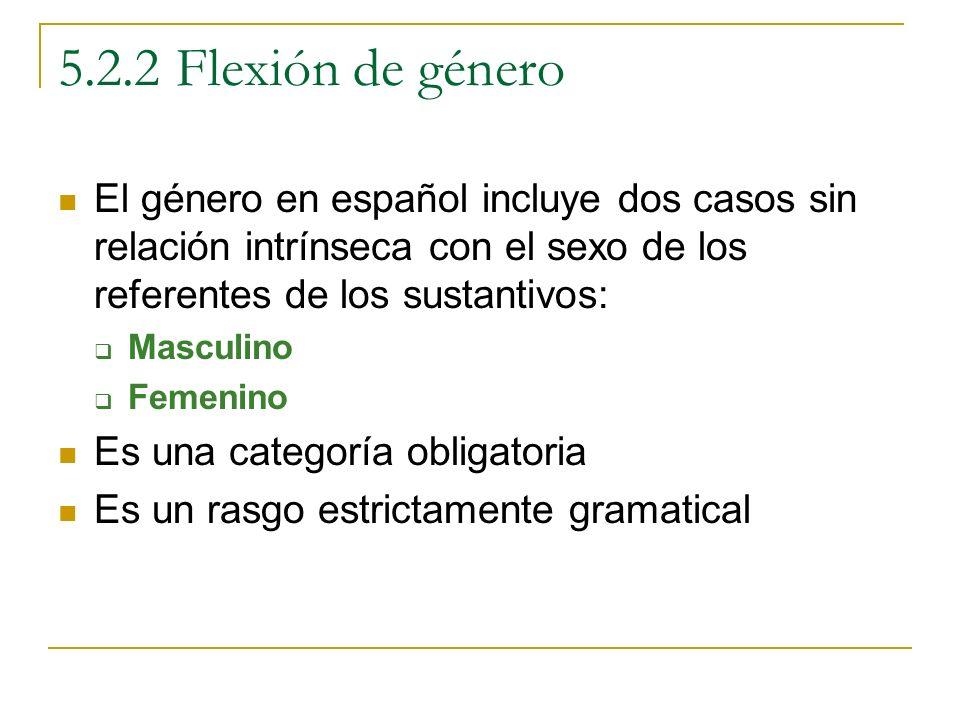 5.2.2 Flexión de género El género en español incluye dos casos sin relación intrínseca con el sexo de los referentes de los sustantivos: Masculino Fem