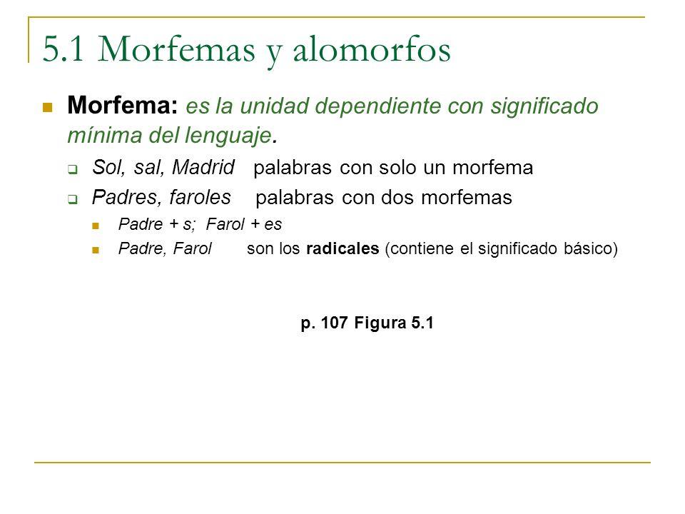 5.1 Morfemas y alomorfos Morfema: es la unidad dependiente con significado mínima del lenguaje. Sol, sal, Madrid palabras con solo un morfema Padres,