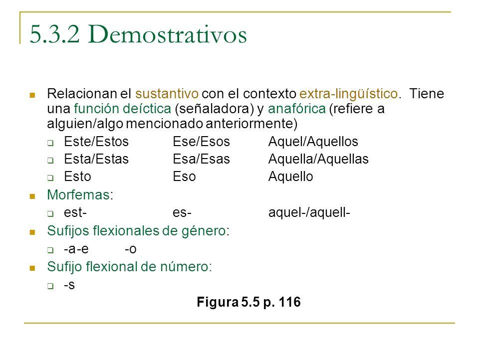 5.3.2 Demostrativos Relacionan el sustantivo con el contexto extra-lingüístico. Tiene una función deíctica (señaladora) y anafórica (refiere a alguien