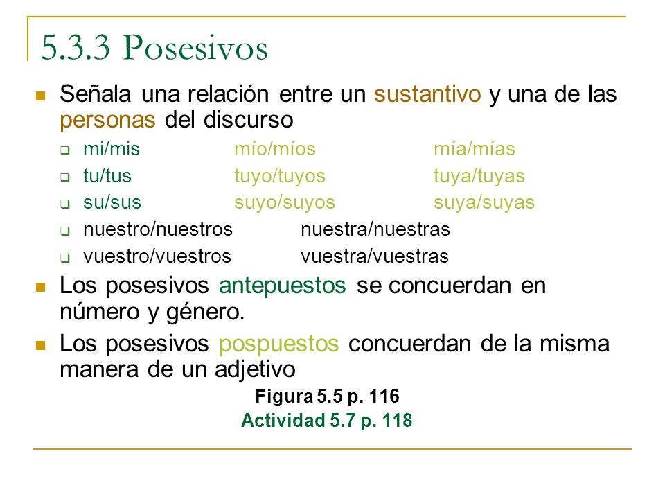 5.3.3 Posesivos Señala una relación entre un sustantivo y una de las personas del discurso mi/mismío/míos mía/mías tu/tustuyo/tuyos tuya/tuyas su/suss