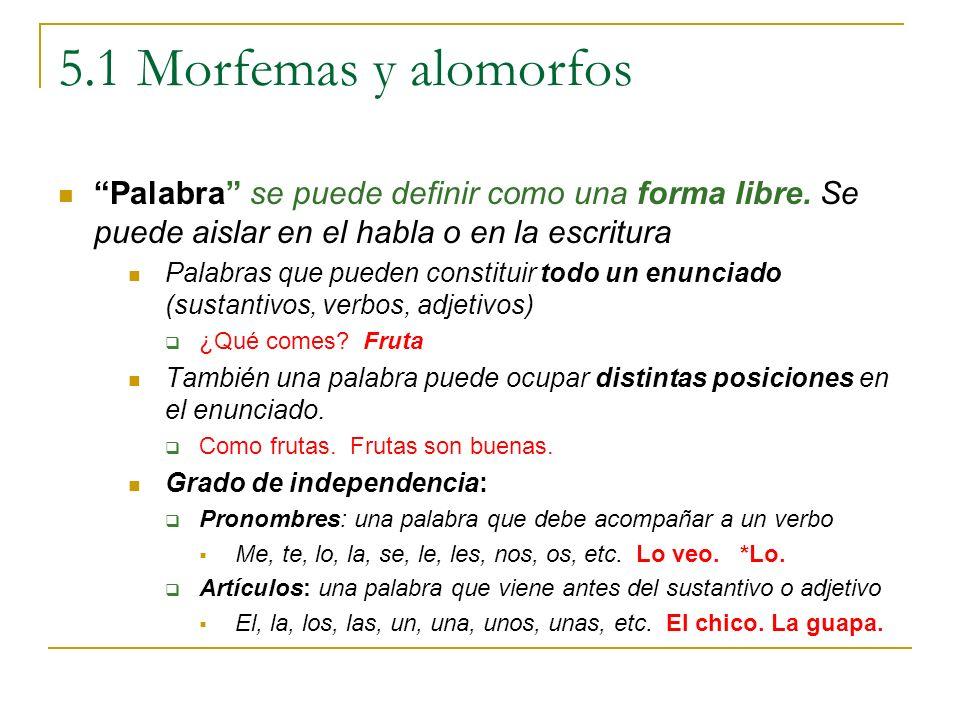 5.1 Morfemas y alomorfos Palabra se puede definir como una forma libre. Se puede aislar en el habla o en la escritura Palabras que pueden constituir t