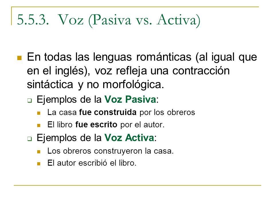 5.5.3. Voz (Pasiva vs. Activa) En todas las lenguas románticas (al igual que en el inglés), voz refleja una contracción sintáctica y no morfológica. E