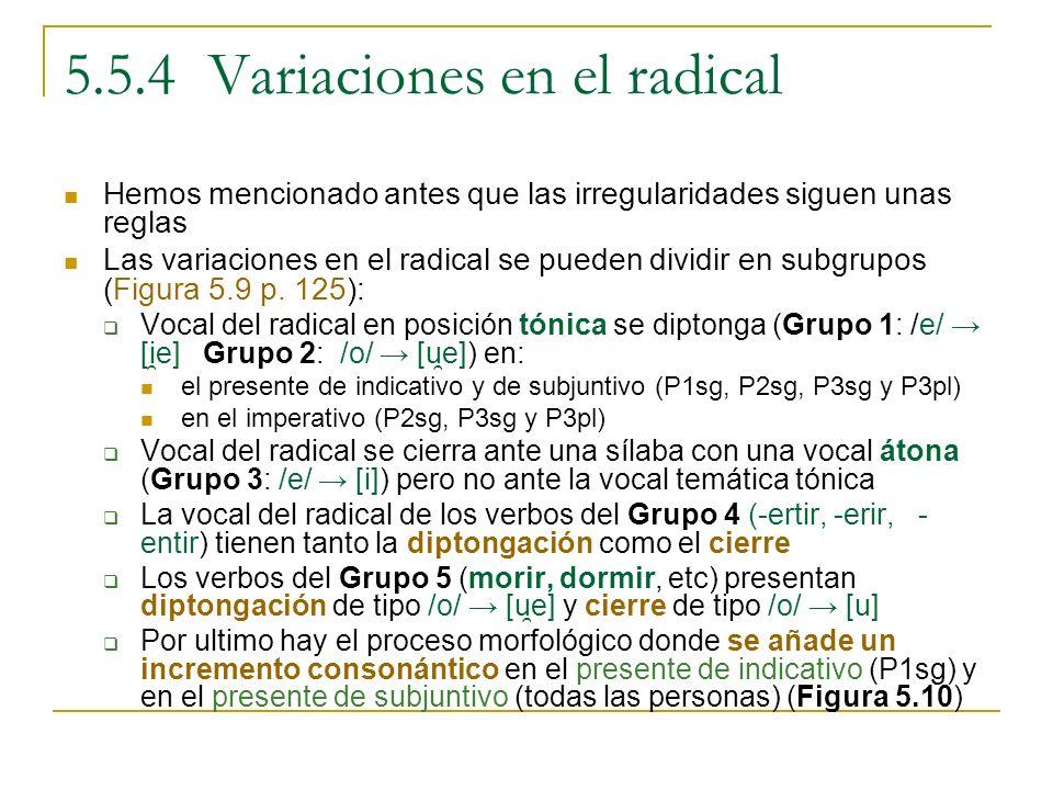 5.5.4 Variaciones en el radical Hemos mencionado antes que las irregularidades siguen unas reglas Las variaciones en el radical se pueden dividir en s