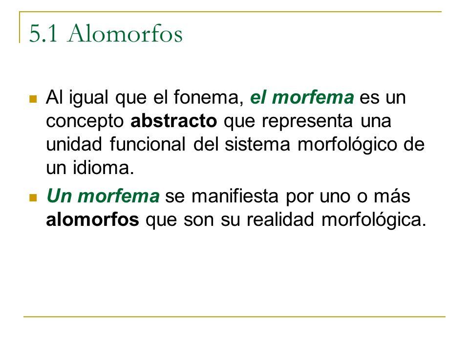 5.1 Alomorfos Al igual que el fonema, el morfema es un concepto abstracto que representa una unidad funcional del sistema morfológico de un idioma. Un