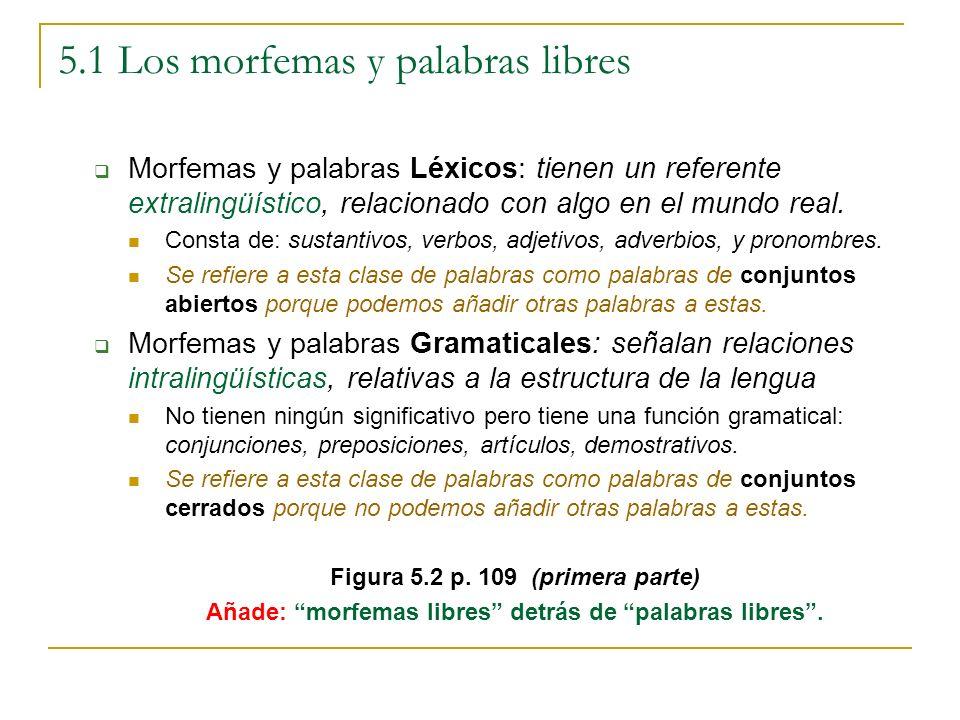 5.1 Los morfemas y palabras libres Morfemas y palabras Léxicos: tienen un referente extralingüístico, relacionado con algo en el mundo real. Consta de