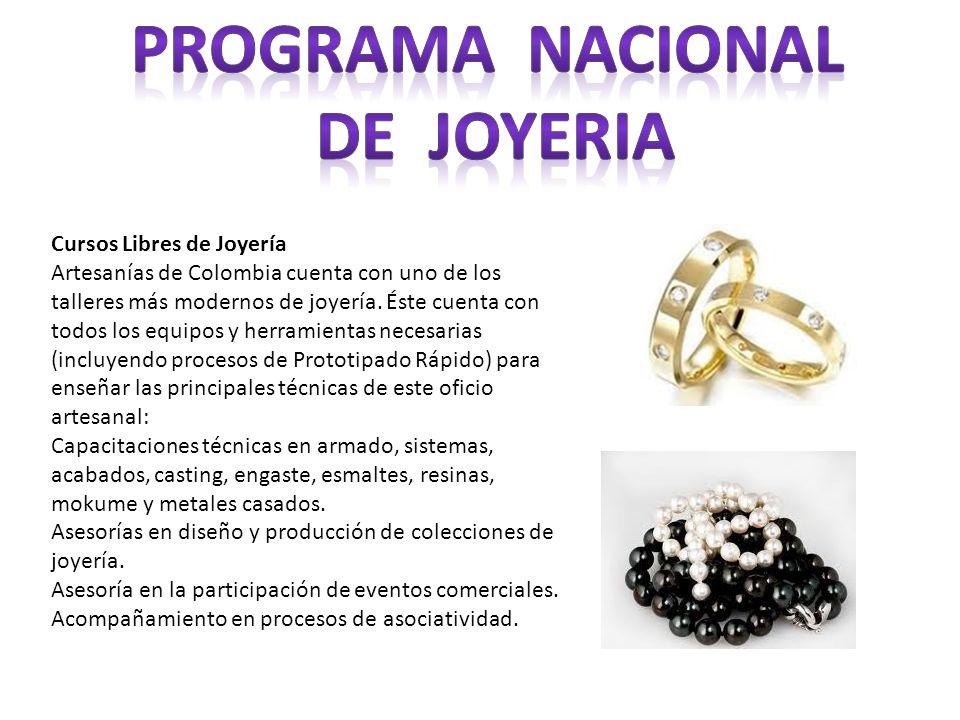 Cursos Libres de Joyería Artesanías de Colombia cuenta con uno de los talleres más modernos de joyería. Éste cuenta con todos los equipos y herramient