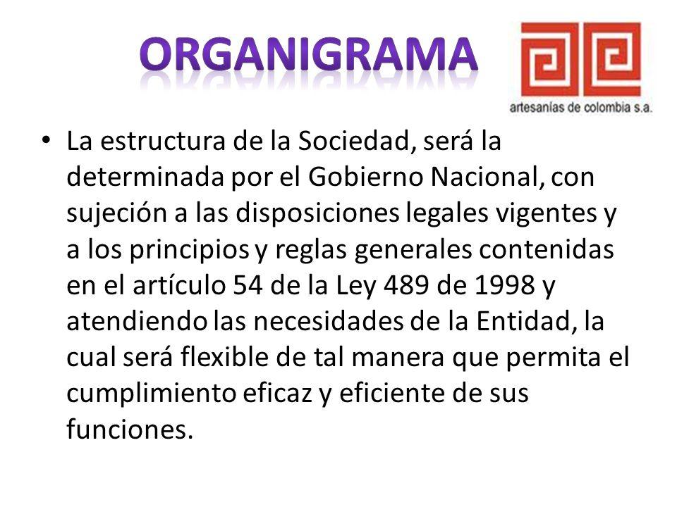 La estructura de la Sociedad, será la determinada por el Gobierno Nacional, con sujeción a las disposiciones legales vigentes y a los principios y reg