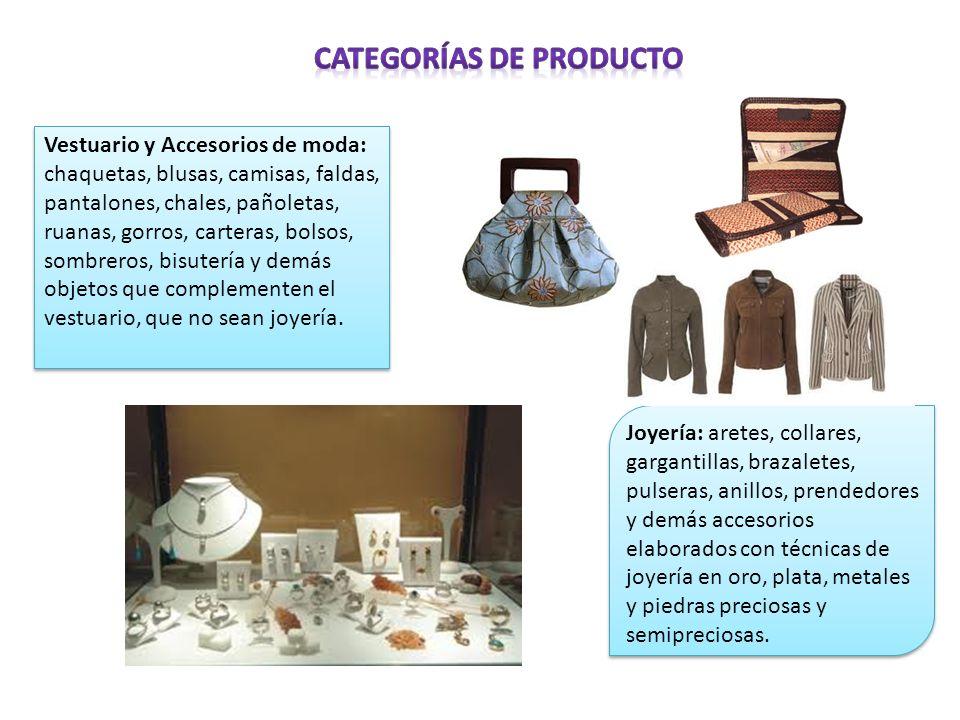 Vestuario y Accesorios de moda: chaquetas, blusas, camisas, faldas, pantalones, chales, pañoletas, ruanas, gorros, carteras, bolsos, sombreros, bisute