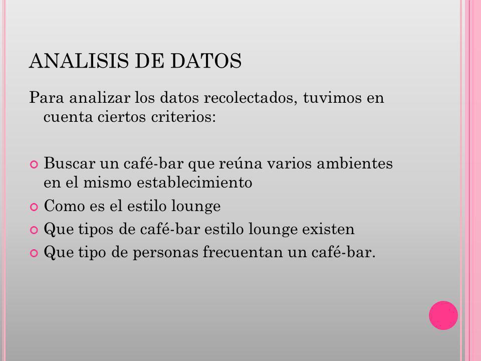 ANALISIS DE DATOS Para analizar los datos recolectados, tuvimos en cuenta ciertos criterios: Buscar un café-bar que reúna varios ambientes en el mismo establecimiento Como es el estilo lounge Que tipos de café-bar estilo lounge existen Que tipo de personas frecuentan un café-bar.