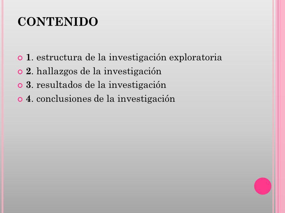 CONTENIDO 1. estructura de la investigación exploratoria 2. hallazgos de la investigación 3. resultados de la investigación 4. conclusiones de la inve