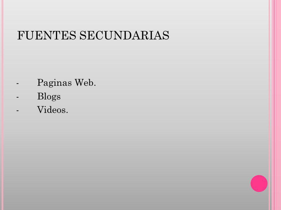 FUENTES SECUNDARIAS - Paginas Web. - Blogs - Videos.