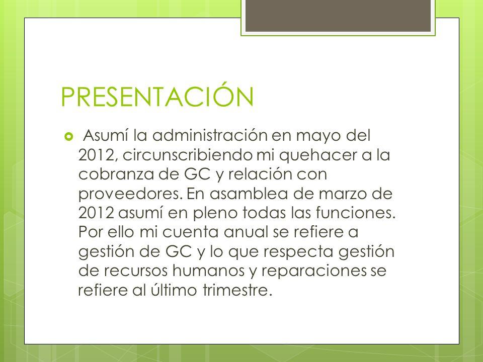 PRESENTACIÓN Asumí la administración en mayo del 2012, circunscribiendo mi quehacer a la cobranza de GC y relación con proveedores.