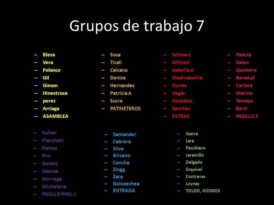 Grupos de trabajo 7 – Blesa – Vera – Polanco – Gil – Gimon – Hinestrosa – perez – Arriaga – ASAMBLEA – Sosa – Ticali – Calcano – Denise – Hernandez –