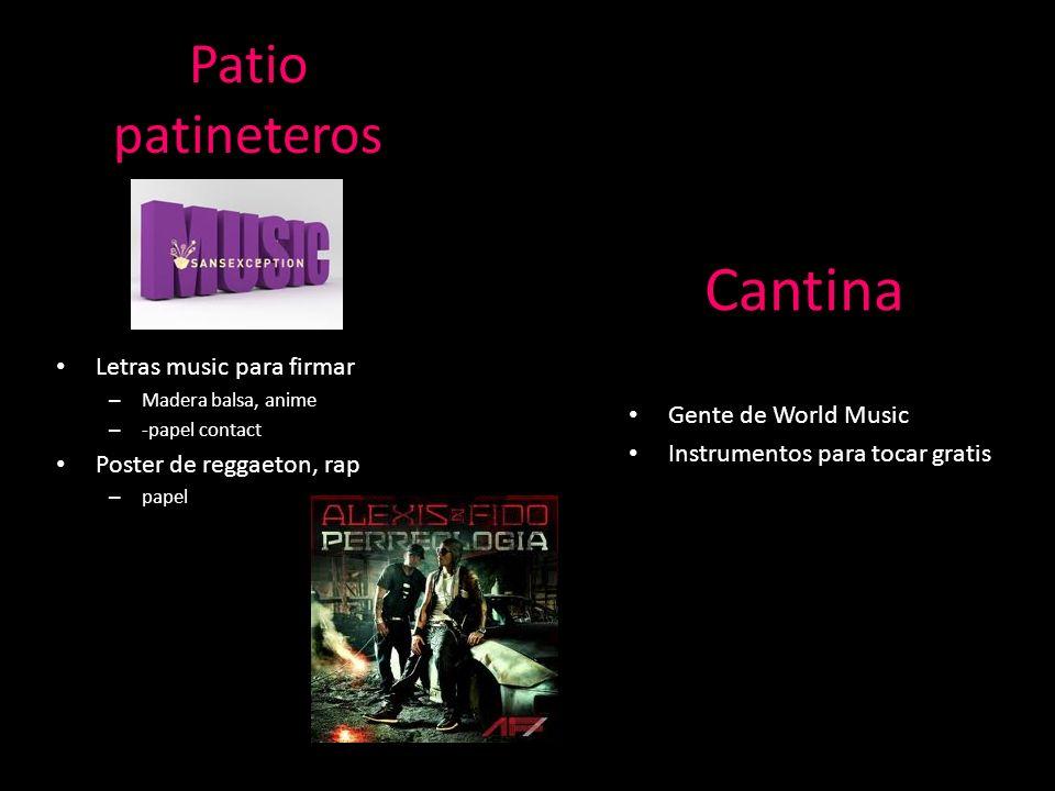 Patio patineteros Letras music para firmar – Madera balsa, anime – -papel contact Poster de reggaeton, rap – papel Cantina Gente de World Music Instru