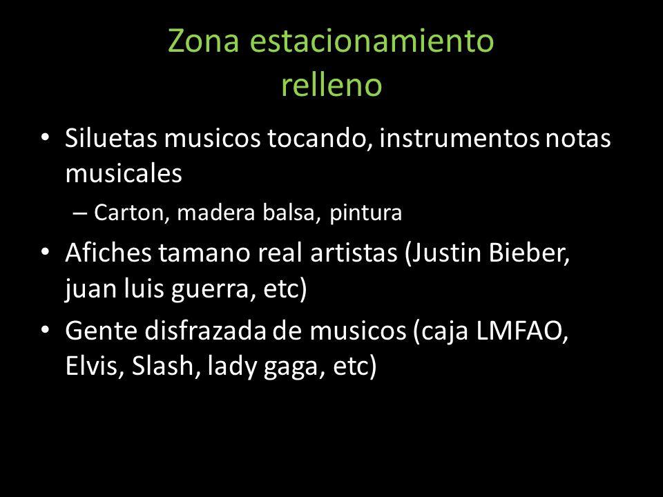 Zona estacionamiento relleno Siluetas musicos tocando, instrumentos notas musicales – Carton, madera balsa, pintura Afiches tamano real artistas (Just