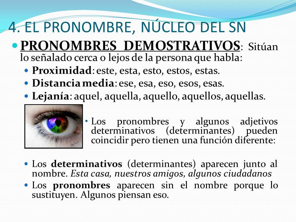 4. EL PRONOMBRE, NÚCLEO DEL SN PRONOMBRES DEMOSTRATIVOS : Sitúan lo señalado cerca o lejos de la persona que habla: Proximidad: este, esta, esto, esto