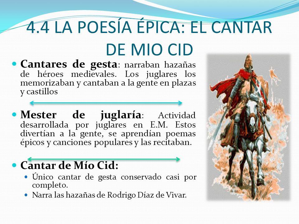 4.4 LA POESÍA ÉPICA: EL CANTAR DE MIO CID Cantares de gesta : narraban hazañas de héroes medievales.