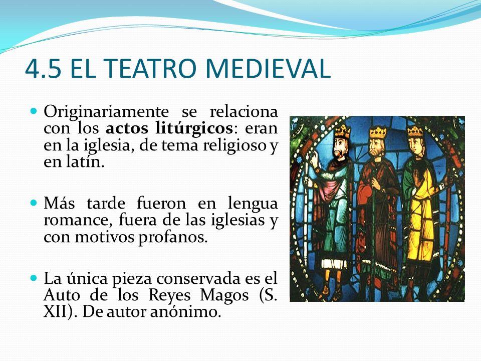 4.5 EL TEATRO MEDIEVAL Originariamente se relaciona con los actos litúrgicos: eran en la iglesia, de tema religioso y en latín.