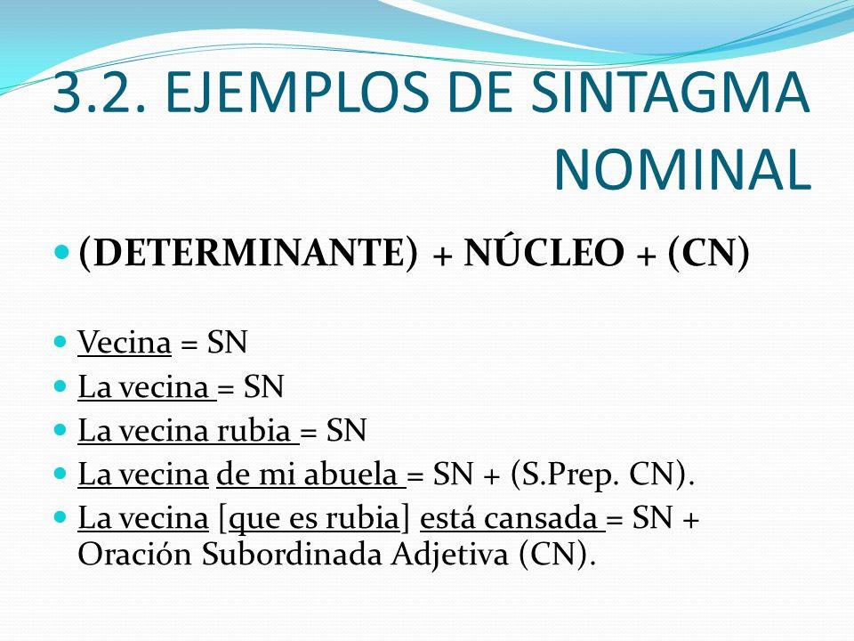 3.2. EJEMPLOS DE SINTAGMA NOMINAL (DETERMINANTE) + NÚCLEO + (CN) Vecina = SN La vecina = SN La vecina rubia = SN La vecina de mi abuela = SN + (S.Prep