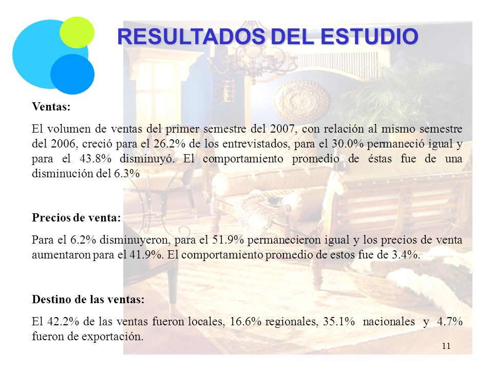 RESULTADOS DEL ESTUDIO Ventas: El volumen de ventas del primer semestre del 2007, con relación al mismo semestre del 2006, creció para el 26.2% de los entrevistados, para el 30.0% permaneció igual y para el 43.8% disminuyó.