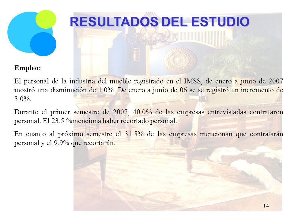 RESULTADOS DEL ESTUDIO Empleo: El personal de la industria del mueble registrado en el IMSS, de enero a junio de 2007 mostró una disminución de 1.0%.