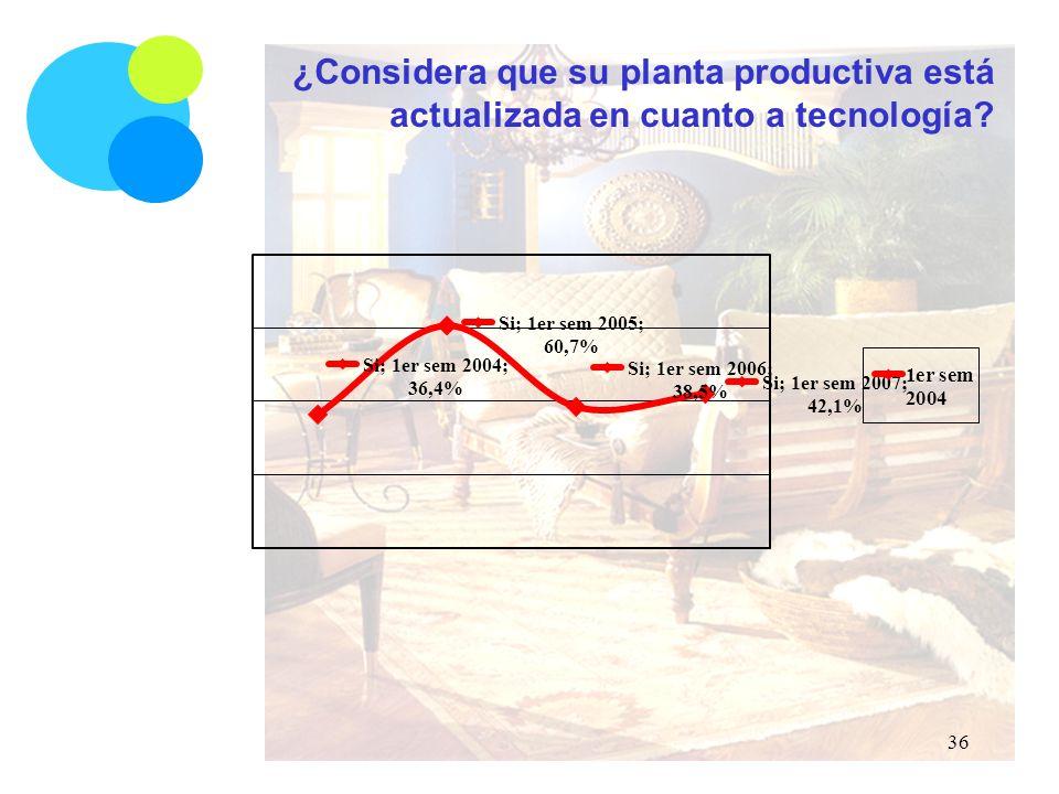 ¿Considera que su planta productiva está actualizada en cuanto a tecnología 36
