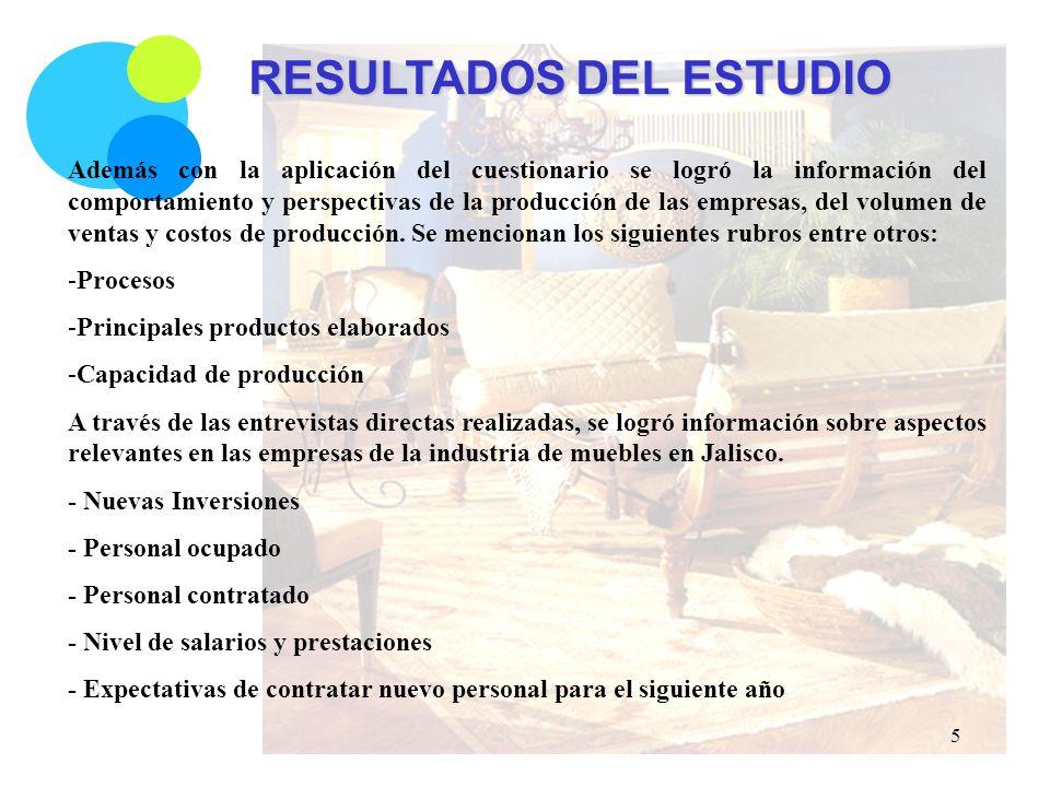 RESULTADOS DEL ESTUDIO Además con la aplicación del cuestionario se logró la información del comportamiento y perspectivas de la producción de las empresas, del volumen de ventas y costos de producción.