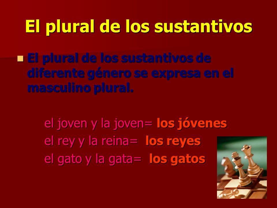 El plural de los sustantivos El plural de los sustantivos de diferente género se expresa en el masculino plural.