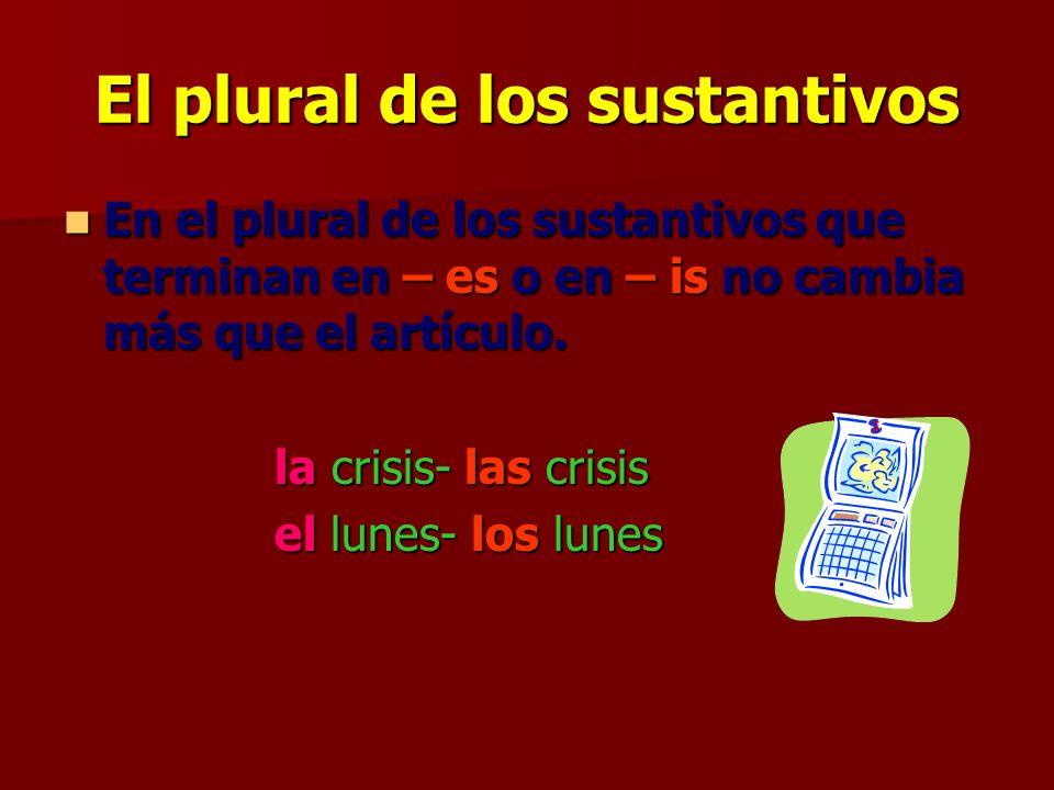 El plural de los sustantivos El plural de los sustantivos que terminan en – és (e con acento) pierde el acento y se añade la sílaba –es.