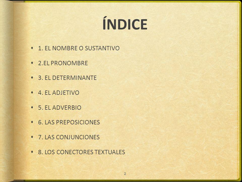 ÍNDICE 1. EL NOMBRE O SUSTANTIVO 2.EL PRONOMBRE 3. EL DETERMINANTE 4. EL ADJETIVO 5. EL ADVERBIO 6. LAS PREPOSICIONES 7. LAS CONJUNCIONES 8. LOS CONEC