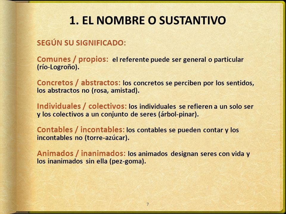 1. EL NOMBRE O SUSTANTIVO SEGÚN SU SIGNIFICADO: Comunes / propios: el referente puede ser general o particular (río-Logroño). Concretos / abstractos: