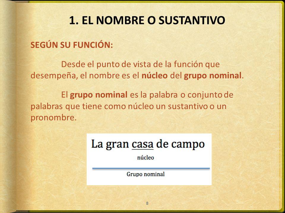 1. EL NOMBRE O SUSTANTIVO SEGÚN SU FUNCIÓN: Desde el punto de vista de la función que desempeña, el nombre es el núcleo del grupo nominal. El grupo no