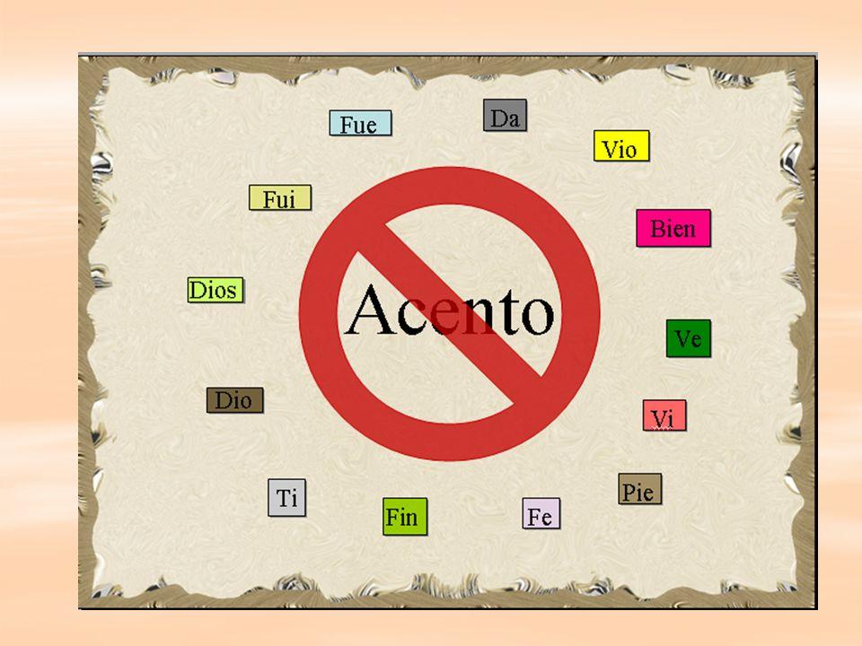 Reglas especiales Acento diacrítico ( acento diferencial) para diferenciar palabras homógrafas e homófonas.