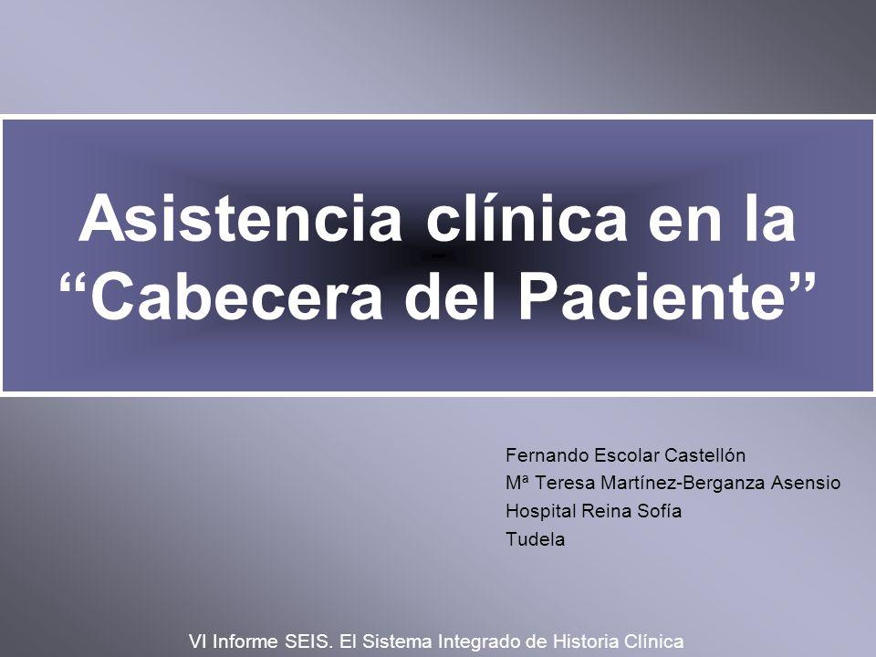 Asistencia clínica en la Cabecera del Paciente Fernando Escolar Castellón Mª Teresa Martínez-Berganza Asensio Hospital Reina Sofía Tudela VI Informe S
