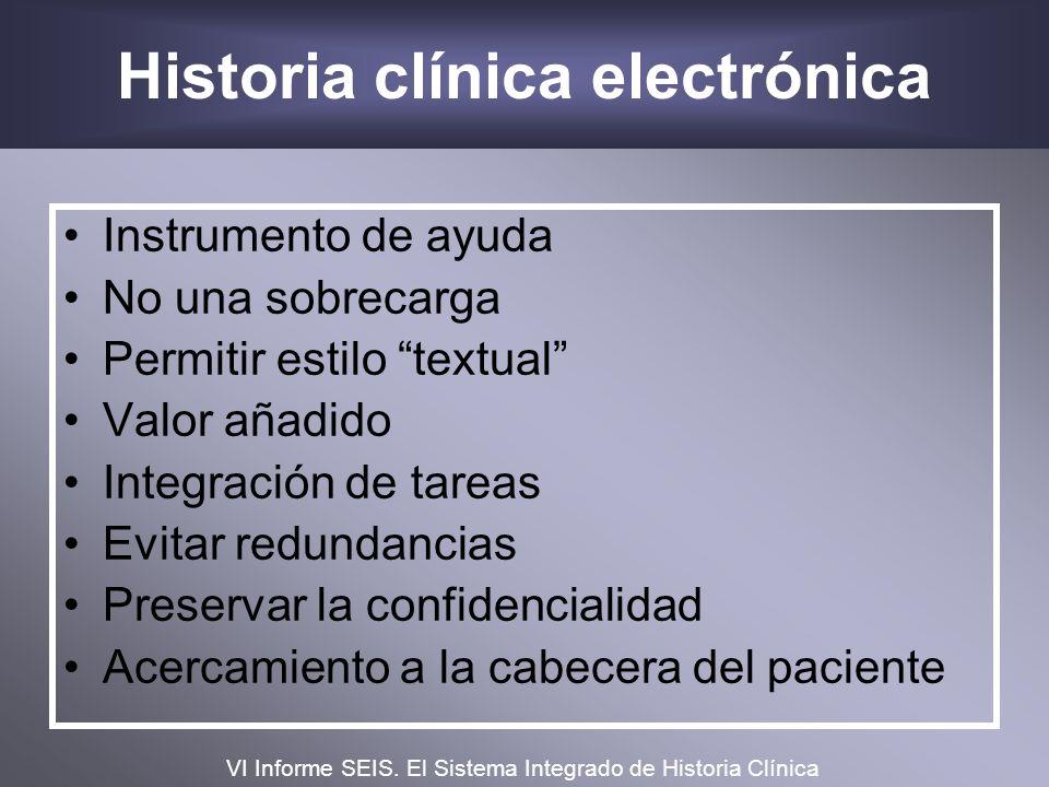 Historia clínica electrónica Instrumento de ayuda No una sobrecarga Permitir estilo textual Valor añadido Integración de tareas Evitar redundancias Pr