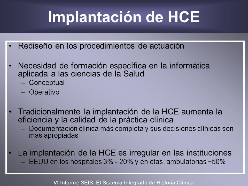Implantación de HCE Rediseño en los procedimientos de actuación Necesidad de formación específica en la informática aplicada a las ciencias de la Salu