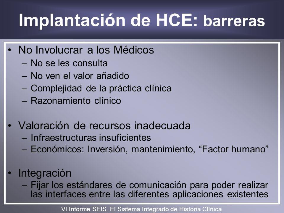 Implantación de HCE: barreras No Involucrar a los Médicos –No se les consulta –No ven el valor añadido –Complejidad de la práctica clínica –Razonamien