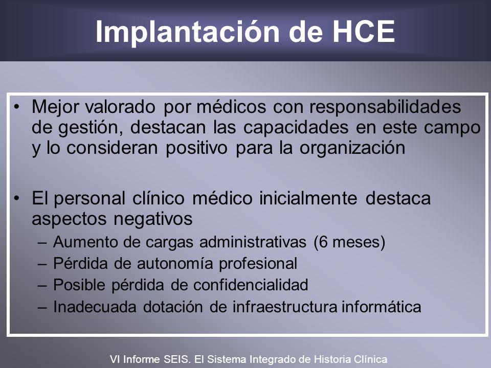 Implantación de HCE Mejor valorado por médicos con responsabilidades de gestión, destacan las capacidades en este campo y lo consideran positivo para