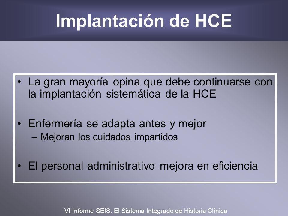Implantación de HCE La gran mayoría opina que debe continuarse con la implantación sistemática de la HCE Enfermería se adapta antes y mejor –Mejoran l