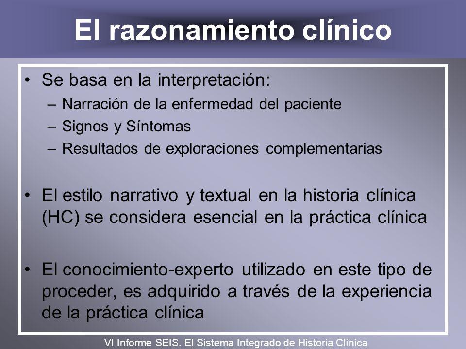 El razonamiento clínico Se basa en la interpretación: –Narración de la enfermedad del paciente –Signos y Síntomas –Resultados de exploraciones complem