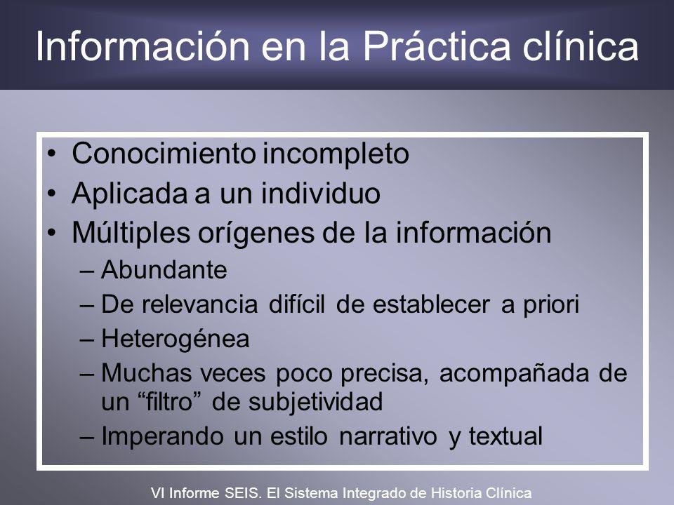 Información en la Práctica clínica Conocimiento incompleto Aplicada a un individuo Múltiples orígenes de la información –Abundante –De relevancia difí