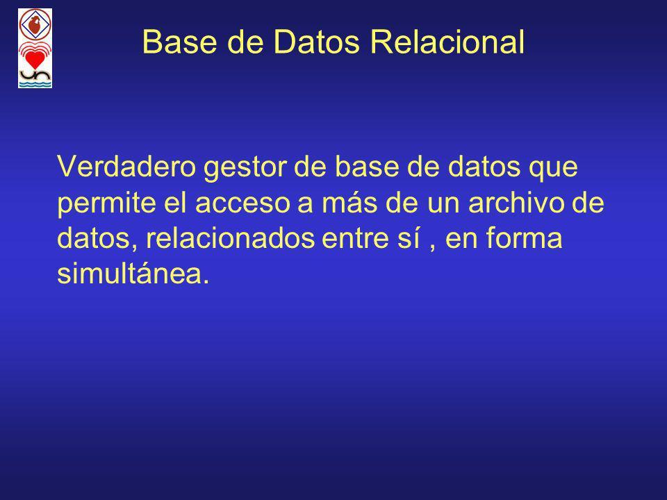 Base de Datos Relacional Verdadero gestor de base de datos que permite el acceso a más de un archivo de datos, relacionados entre sí, en forma simultánea.