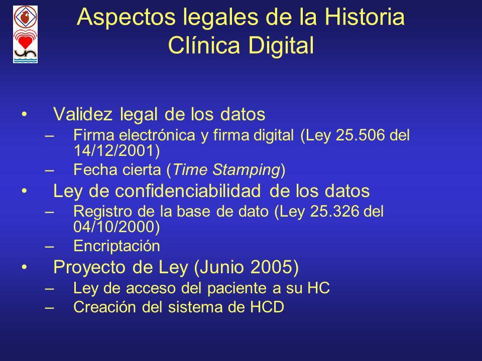 Aspectos legales de la Historia Clínica Digital Validez legal de los datos –Firma electrónica y firma digital (Ley 25.506 del 14/12/2001) –Fecha cierta (Time Stamping) Ley de confidenciabilidad de los datos –Registro de la base de dato (Ley 25.326 del 04/10/2000) –Encriptación Proyecto de Ley (Junio 2005) –Ley de acceso del paciente a su HC –Creación del sistema de HCD